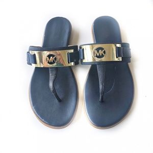 Michael Kors Navy Sandals Gold Logo Size 8
